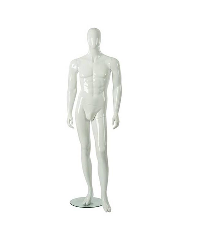 Male mannequin with abstract face, glossy white fiberglass