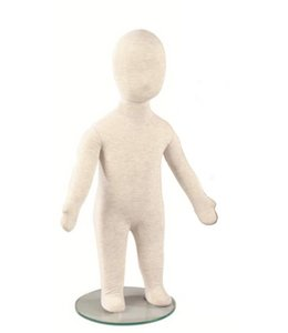 "1 year old kid flexible mannequin, 25.5""H linen fabric"