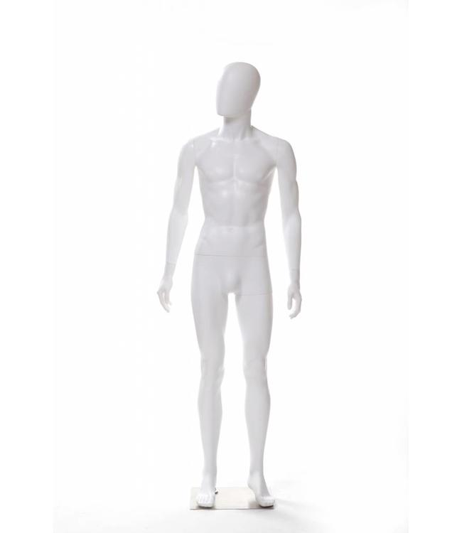 Male mannequin with face, without hair, fiberglass, fleshtone