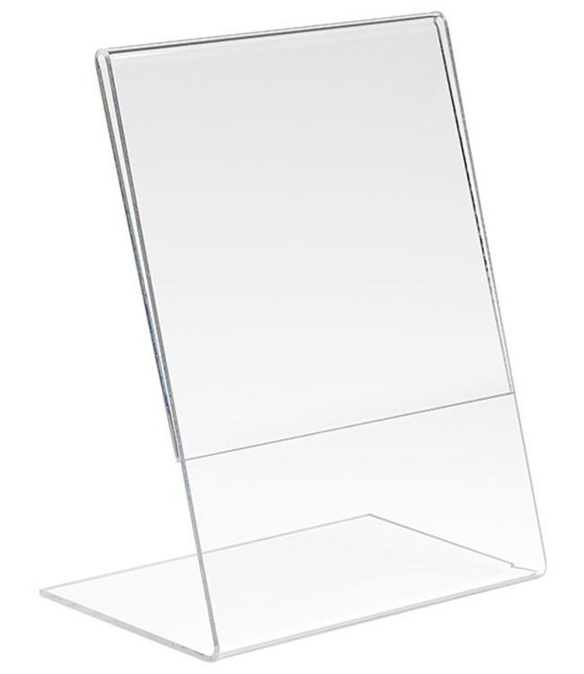 "L shape sign holder 5.5"" x 7""H, acrylic"