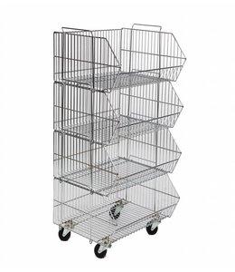"Basket 4 units on casters 23""x18""x43""H chrome"