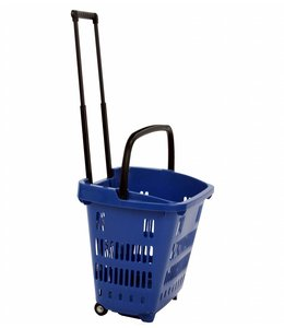 "Shopping basket on wheels 34 liters 18-1/8""x 13-5/8""x 15-3/4""H, plastic"