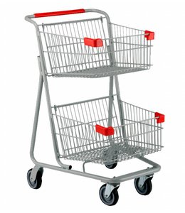 "2 level shopping cart, 129 liters 28.25"" X 23.25"" X 42.25""H"