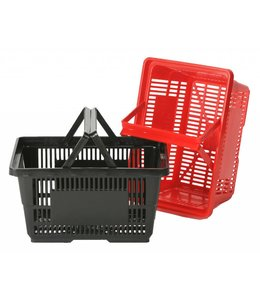"28 liters 2 handles shopping basket 18-7/8""x 12-3/4""x 9-7/8""H, plastic"