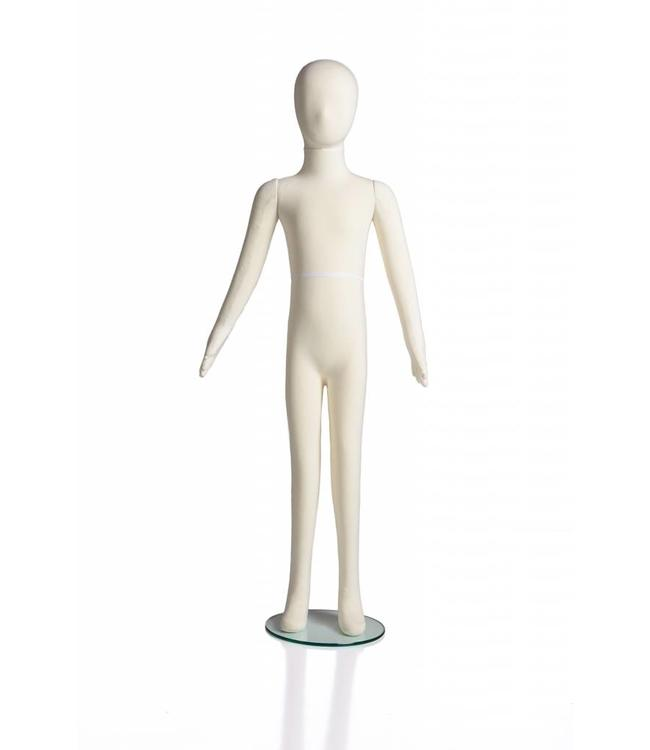 "10 years old kid flexible mannequin, 50""H cream fabric"