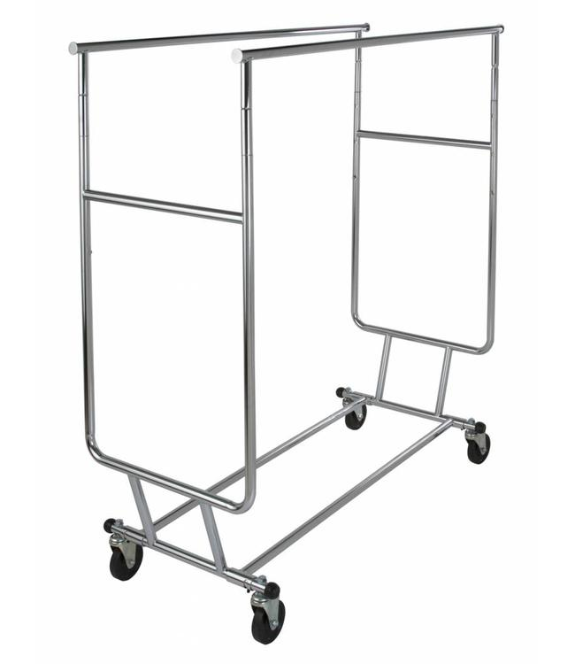 """Collapsible double clothing rack adjustable with 12"""" pull out arms"""