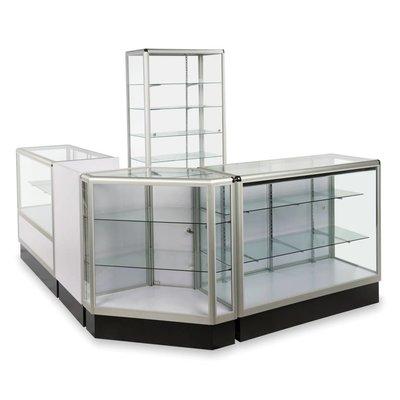 Présentoirs vitrés avec moulures d'aluminium
