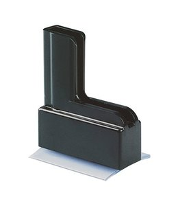Moulded plastic base with adhesive