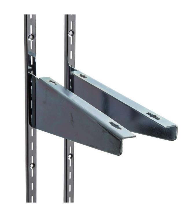 """Heavy duty wood shelf bracket, slots 1/2""""-1""""oc"""