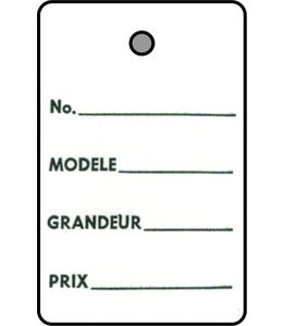 """1 part tag FRENCH 1.25"""" x 1.75""""H"""