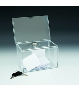 "Ballot box 6-1/8""x 4-5/16""x 7-7/8""H with sign holder 6""x 4""H"