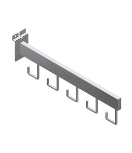 "Faceout with 5 hooks, 16'' for slatwall, 1/2"" x 1-1/2"" tubing"