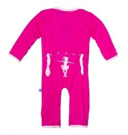 Kickee Pants Applique Coverall Calypso Ballerina