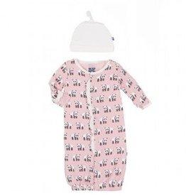 Kickee Pants Kickee Pants Gown Converter & Hat Set Girl Lotus Panda