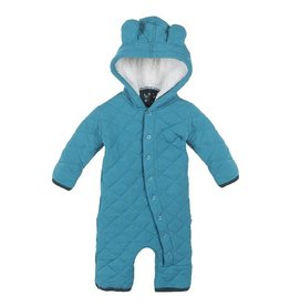 Kickee Pants Kickee Pants Quilted Hoodie Coverall w/Sherpa Hood Bay with Pine Trim