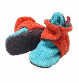 Zutano Cozie Fleece Color Block Booties Mandarin/Pool