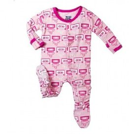Kickee Pants Print Footie Lotus Cassette Tape Newborn
