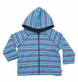 Zutano Periwinkle Multi Stripe Reversible Zip Hoodie 4T