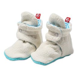 Zutano Cozie Fleece Booties Cream/Pool Stripe