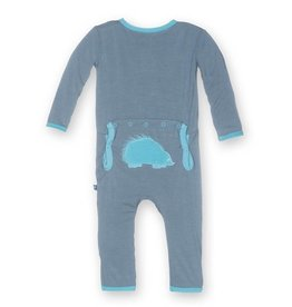 Kickee Pants Applique Coverall Dusty Sky Coverall