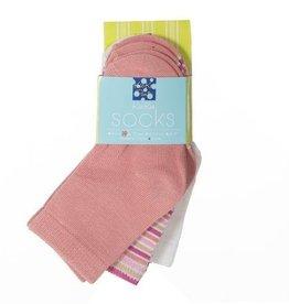 Kickee Pants Sock Set Natural, Girl Forest Stripe & Blush 12-24m