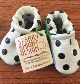 Starry Knight Design Moccasins with Fringe Black and White