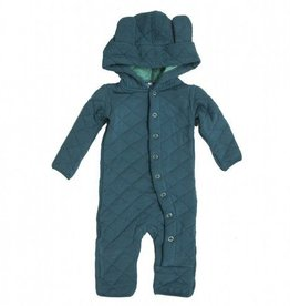 Kickee Pants Quilted Hoodie Coverall w/Ears Peacock