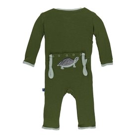 Kickee Pants Applique Coverall Moss Turtle 0-3M