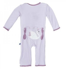 Kickee Pants Applique Coverall Thistle Swan Princess 0-3 Months
