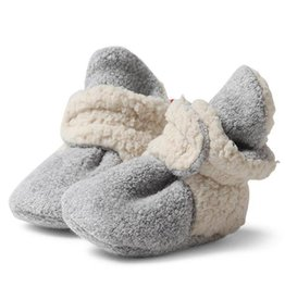 Zutano Cozie Fleece Booties Furry Heather Gray