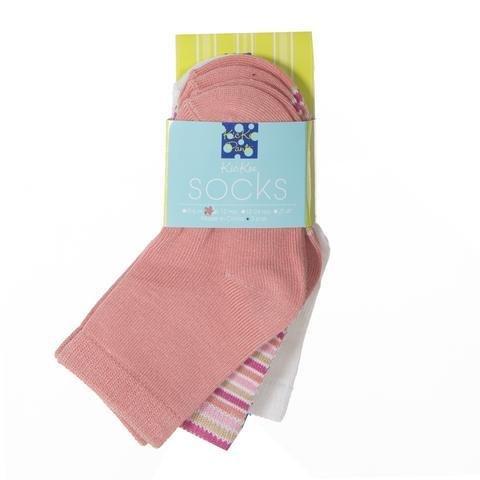 Kickee Pants Socks Natural, Girl Forest Stripe, & Blush
