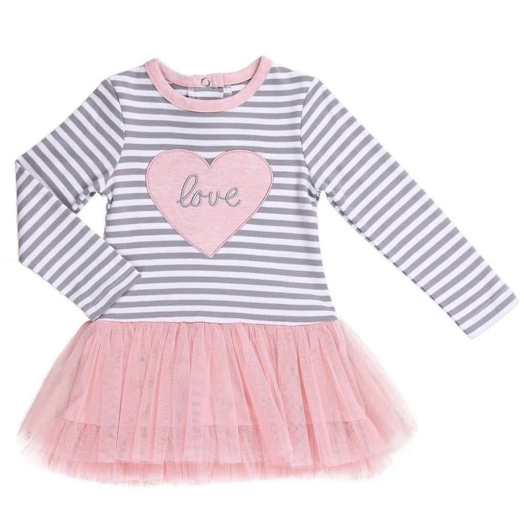 Asher & Olivia Dress- Gray Stripe Love