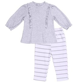 Asher & Olivia 2 Pc Play Set - Gray Ruffle Tunic
