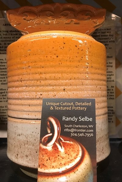 Randy Selbe Artisan Randy Selbe Canister w/Lid Orange to Beige