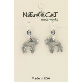 Nature Cast Cutout Moose earrings with bead