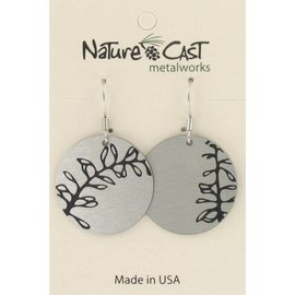 Nature Cast miss-match leaves disc earrings