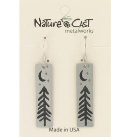 Nature Cast tree with moon and stars disc earrings