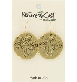 Nature Cast gold tone tree of life earrings