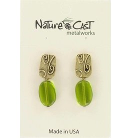 Nature Cast Gold Tone Post Earring with Green Drop