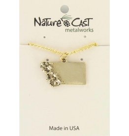Nature Cast Montana Necklace w/mountains Gold
