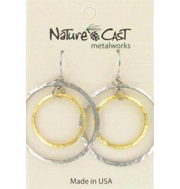 Nature Cast 2 tone circles earrings