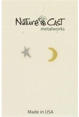 Nature Cast Post Earrings 2 tone Star & Crescent Moon