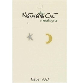 Nature Cast Post Earrings 2 tone Star & Crescent Moon