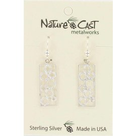 Nature Cast Sterling Silver earrings  circles in rectangle