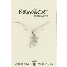 """Nature Cast Pendant sterling silver moose w/ 18"""" chain"""