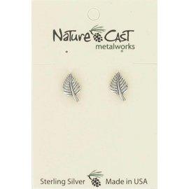 Nature Cast Sterling silver post earrings aspen leaf