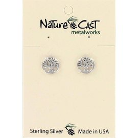 Nature Cast Sterling silver post earrings Tree of Life