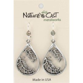 Nature Cast Leaves in Teardrop Earrings