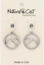 Nature Cast Cutout Mountains in Circle Earrings