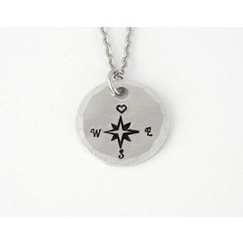 Stamped Aluminum Jewelry Follow your Heart Compass Necklace